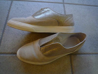 Tamaris Schuhe Gr 39 weiß Creme gold wie neu Wildleder echt Leder   eBay