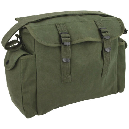 Highlander Heavy Duty Military Haversack Student Shoulder Bread Bag Canvas Olive