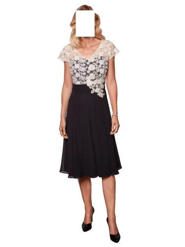 44 46 0618988675 Gr Marken Abend Kleid mit Spitzenoberteil schwarz-ecru Gr