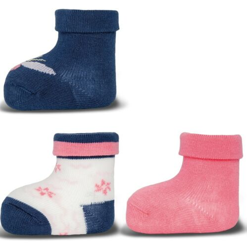ewers 3er Set Baby-Socken Erstlingssöckchen Schmetterlinge glatt