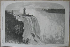 1860 Antique Engravings- NIAGARA FALLS - The American & Canadian Side -Monteagle