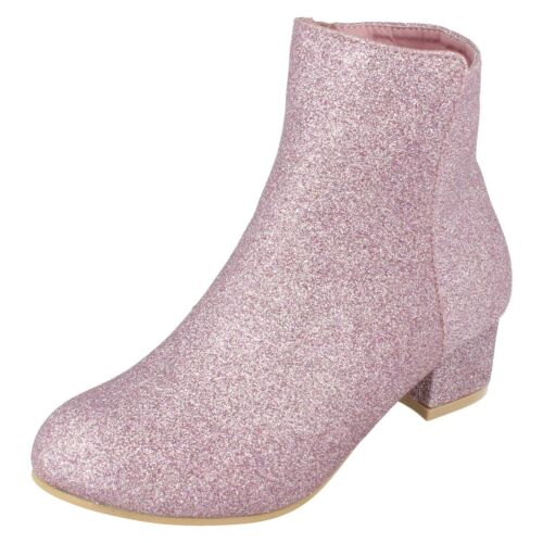 Girls Anne Michelle Mid Heel Zip Up Ankle Boots Party H5R088