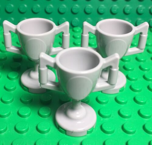 Lego X3 New Light Stone Gray Trophy Cup Mini Figures Utensil Accessory Lot