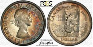 1958-CANADA-SILVER-1-DOLLAR-BU-UNCICULATED-PCGS-AU58-COLOR-TONED-IN-HIGH-GRADE