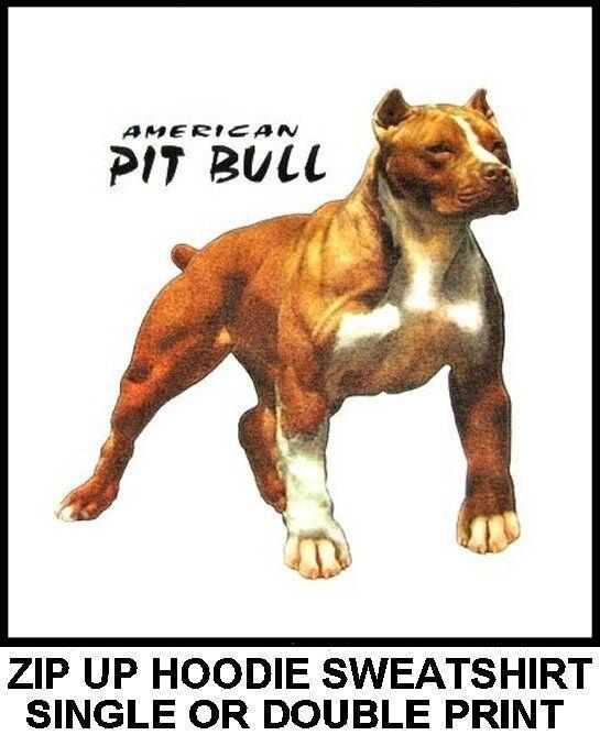 VERY COOL MUSCULAR AMERICAN PIT BULL TERRIER DOG ART ZIP HOODIE SWEATSHIRT 742