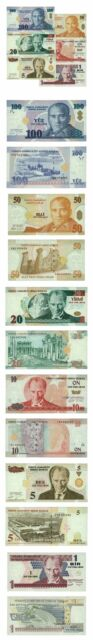 Turkey Set of 6 Banknotes 1, 5, 10, 20, 50, 100 New Lira 2005 Pick 219 to 221 Cr
