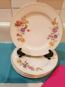 """Set of 6 Edwin M Knowles Semi-Vitreous China, Salad Plates 6 1/4"""" Floral 22 kt t"""