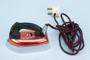 1950s-CLEM-Travel-Iron-Small-Vintage-Retro-English-Red-Original-Wiring-Miniature