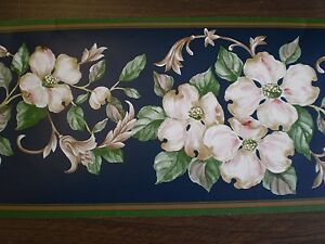 Image Is Loading Navy Blue Border With Pink Amp White Flowers