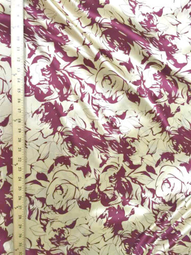 """Rose Floral Gold /& Red Faux Silk Satin 48/""""W Fabric Material Drape Dress Scarves"""