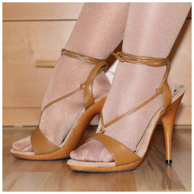 Pleaser Sandaleetten Gr. 40 / US10 Echtleder High Heels braun Envy-533 (#2180)