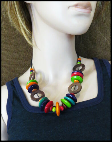Halskette Damenkette Frauen Kette Holz Perlen Bunt Naturmaterialien  Neu