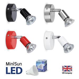 Single-LED-Ceiling-or-Wall-Spotlight-Spot-Lights-Fittings-Chrome-Black-Red-White