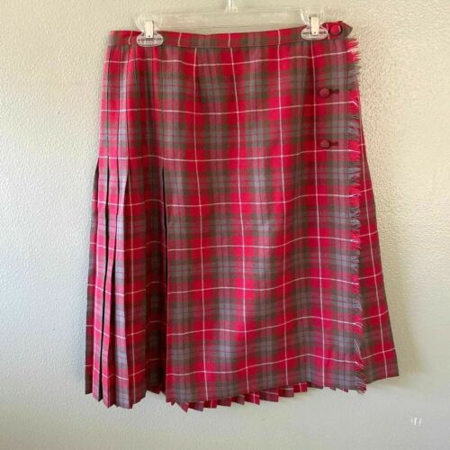aljean skirt 16 red green wrap pleated unlined pla