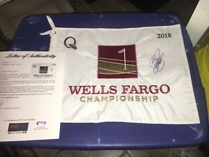 Rickie-Fowler-2018-Wells-Fargo-Championship-Signed-Golf-Flag-PSA-DNA