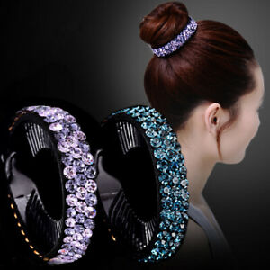 New-Women-Fashion-Hair-Clip-Crystal-Claw-Ponytail-Bun-Holder-Hair-Comb-Hairpin