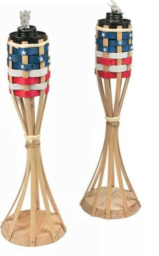 """set of patriotic table top tiki torches ea.14/""""H Bamboo"""