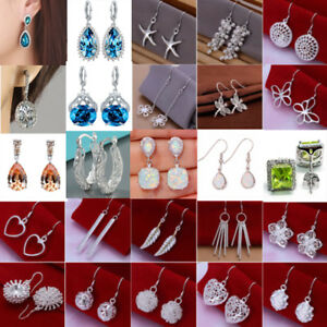 Lady-925-Silver-Filled-Sapphire-Crystal-Dangle-Hoop-Earrings-Stud-Jewelry-Gift