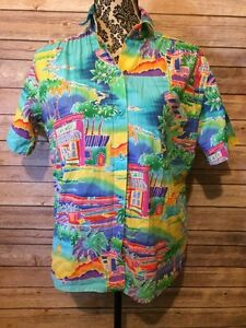 All-Hours-Men-039-s-vintageHawaiian-Print-Shirt-Sz-S-Cotton-U-S-A