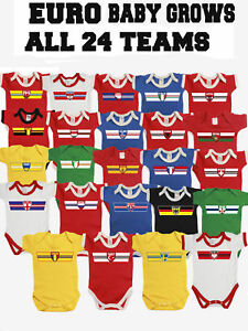 Baby Grow Retro Strip Style Patriotic Fan Sports Kit  *Choose Country*