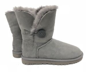 bda723b01b1 Details about Ugg Australia Bailey Button Classic Short Grey Gray 5803  Women's sheepskin Boots