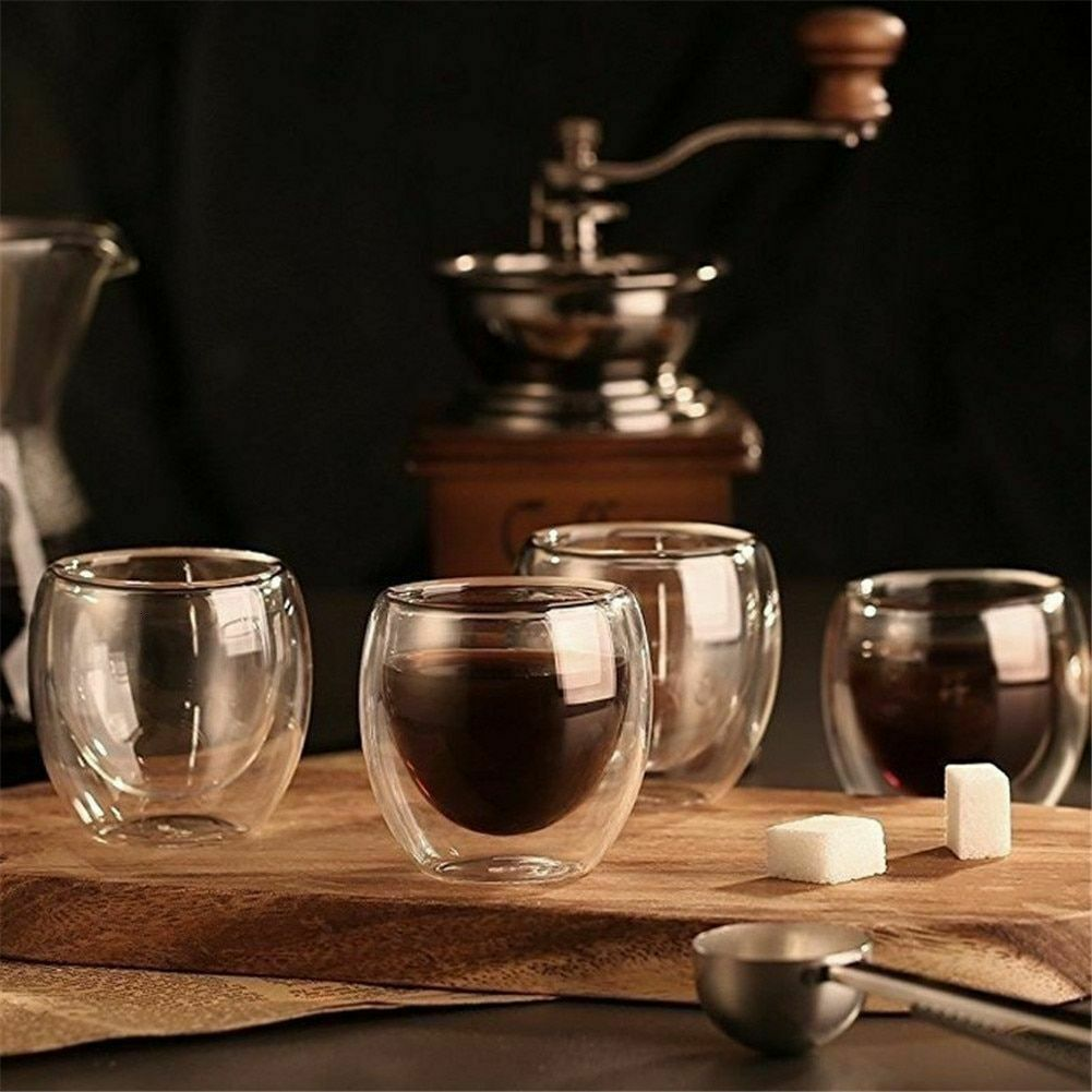 Glass Cup Heat Resistant Double Wall Coffee Tea Whiskey Cup Drinkware New Set
