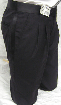 Black Traditional Tuxedo Trousers Wool Pants Adjustable Waist Choose Your Size
