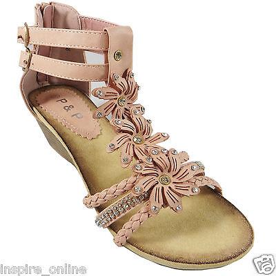 Señoras para mujer con tiras de Verano Playa Noche Baja Talón mediados Cuña Sandalias Zapatos Talla