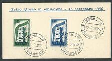 1956 ITALIA FDC EUROPA - FRANCOBOLLI APPLICATI SU CARTONCINO - 2