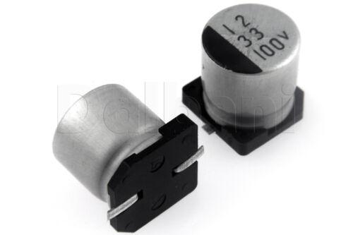 25pcs SMD Aluminium Electrolytic Capacitor 100V 33uF 10x10mm