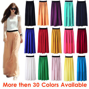 Women-Maxi-Skirt-Double-Layer-Chiffon-Pleated-Retro-Long-Dress-Elastic-Waist-Hot