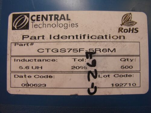 10pcs Qty Central Tech 5.6uH 3.3A Power Inductor CTGS75F-5R6M