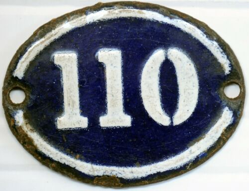 Old blue black French house number 110 A door gate wall plate steel enamel sign