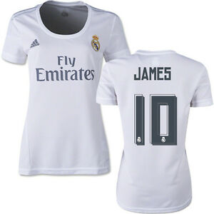 65f694bb1f1 New Genuine Adidas Real Madrid 2015 16 JAMES 10 Home Shirt Womens UK ...