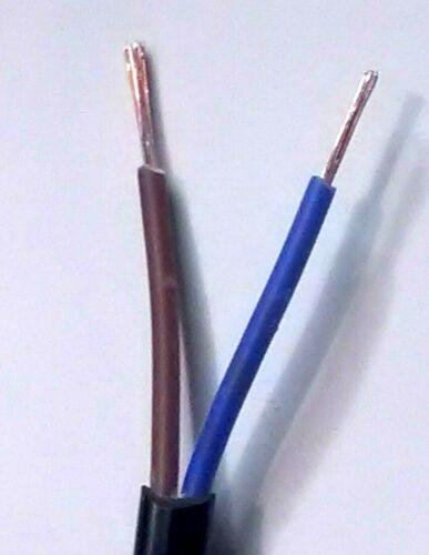 0.75 mm² thinwall Twin Core Deux Core 2 Core Câble Marron//Bleu Fil 14 Amp 1 mètre