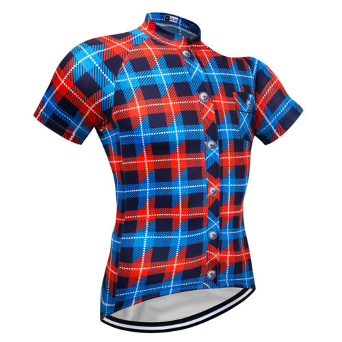 New Mens Short Sleeve Cycling Jerseys Bicycle Team Jersey Plaid Shirt Blue Color