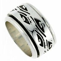 Sterling Silver Men's Spinner Ring Native American Pattern Handmade, 1/2 Wide
