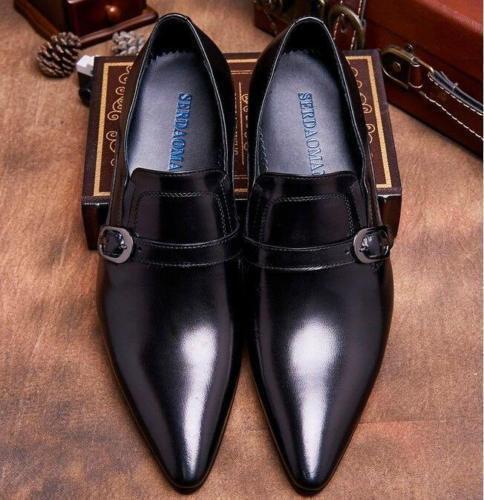 Para hombres Cuero Genuino Hebilla Puntera en Punta de negocios Formal Zapatos Confort Tamaño de otoño