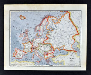 Map Of Germany And Hungary.1896 Mathews Northrup Map Europe France Italy Spain Germany Austria