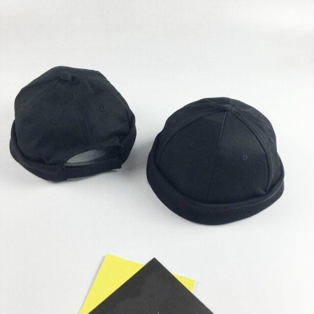 1X Skullcap Sailor Cap Hat Beanie Black Rolled Cuff Vintage Men Fashion  Brimless 40a28784795