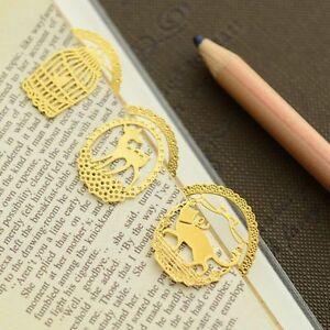 6Pcs Heart Key Cage Mini Reading Gold Metal Clip Bookmark Gift Book Mark