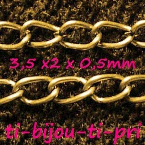 2 METRES CHAINES chainettes GOURMETTE 3 x 2 x 0,5mm DOREES perles LOT de 2M