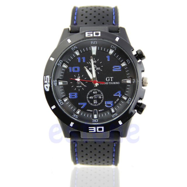 Men's Luxury Black Stainless Steel Analog Quartz Sport Wrist Watch New