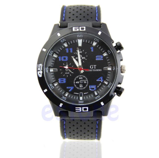 Men's Luxury Black Stainless Steel Analog Quartz Sport Wrist Watch New