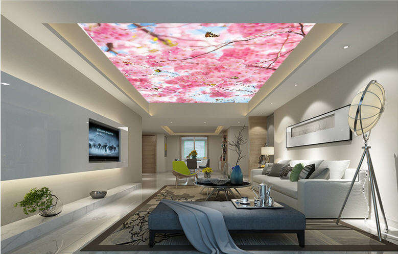 Blossom Of Cheey Full Wall Mural Photo Wallpaper Print 3D Ceiling Decor Home