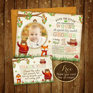 Woodland Birthday Invitation, Forest Birthday Party - Fox - Digital File - 5x7