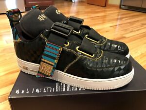 Details about Nike Air Force 1 Utility BHM QS Black Metallic Gold BV7783 001 Size 15