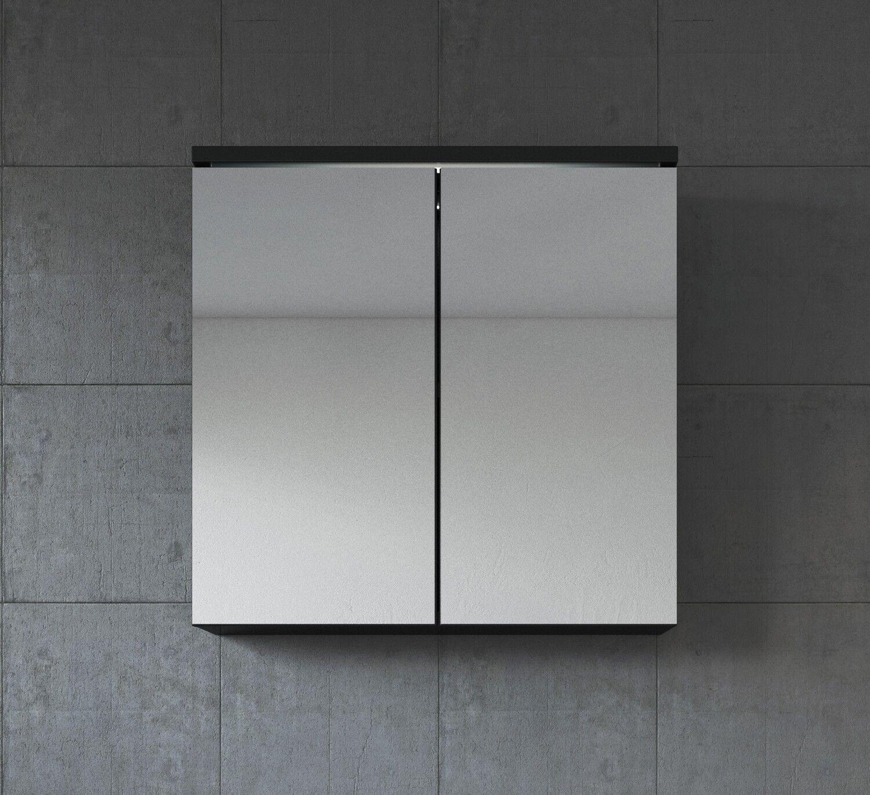 Meuble à miroir 60x59 cm Toledo Noir - Miroir armoire miroir salle de bains verr