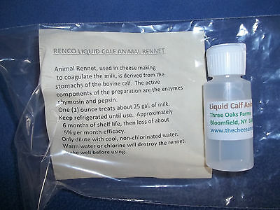 Calf Rennet, animal and veal, 1 oz liquid