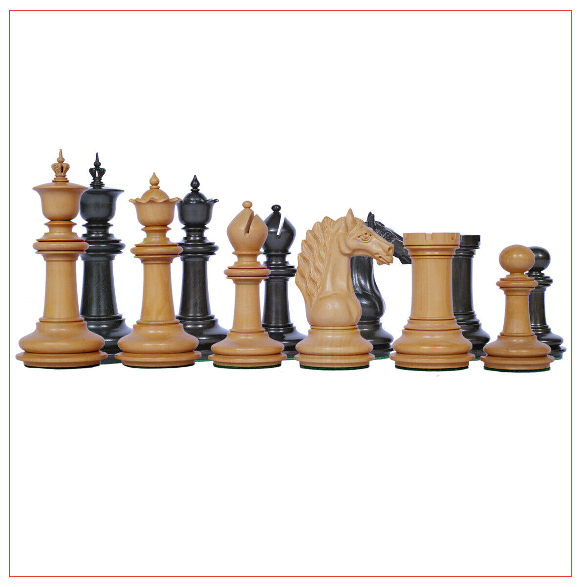 Macedon Series 4.4 inch Chessmen in Genuine Ebony and Box wood